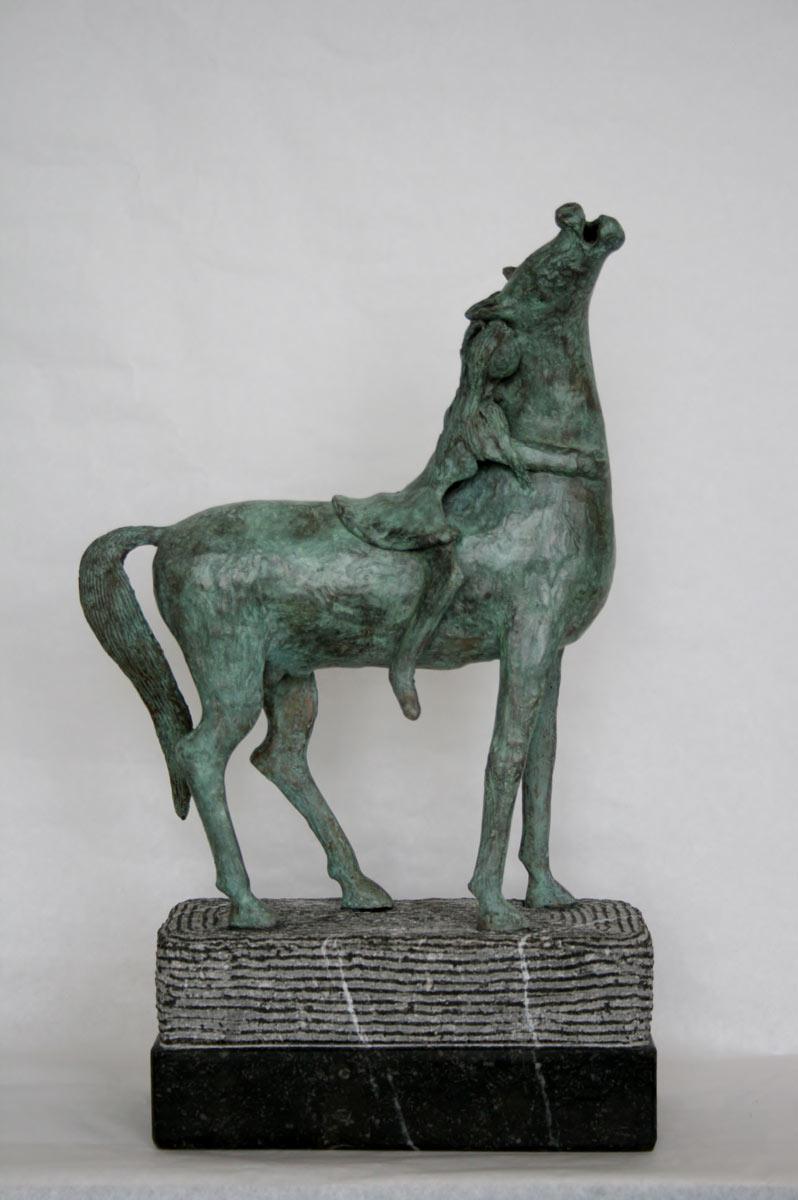 """""""Vrouw Met Paard"""" Brons, Hardsteen, Unicum"""