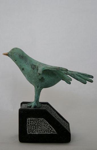 """""""Vogel Met Gouden Snavel """" Brons, Hardsteen, Unicum, Particulier Collectie"""