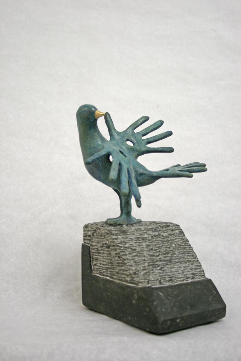 """""""Vogel Met Gouden Snavel-2"""" Brons, Hardsteen, Unicum"""