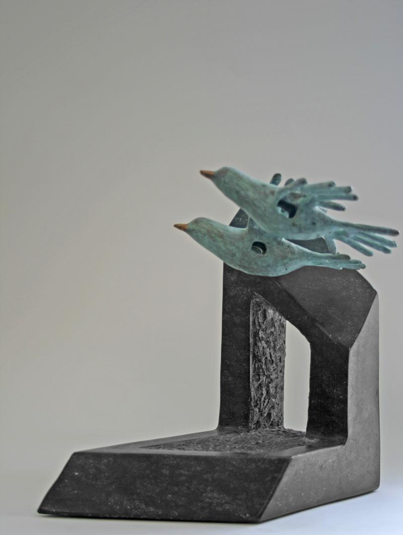 Vogelpaar In Vrijheid, Brons, Diabas, Unicum